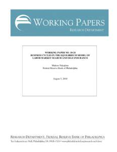 UNEMPLOYMENT EQUILIBRIUM THEORY PDF PISSARIDES