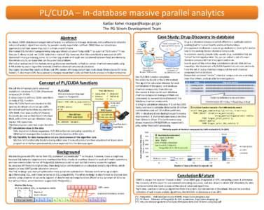 PL/CUDA – In-database massive parallel analytics KaiGai Kohei <> The PG-Strom Development Team Case Study: Drug-Discovery In-database