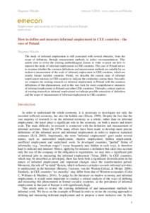 Dagmara Nikulin  emecon, www.emecon.eu/Nikulin Employment and economy in Central and Eastern Europe emecon.eu