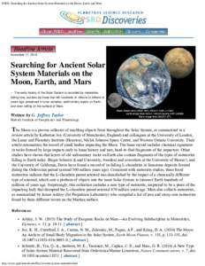 PSRD: Searching for Ancient Solar System Materials on the Moon, Earth, and Mars