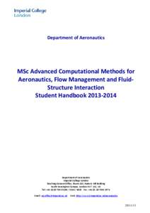 Department of Aeronautics  MSc Advanced Computational Methods for Aeronautics, Flow Management and FluidStructure Interaction Student Handbook[removed]