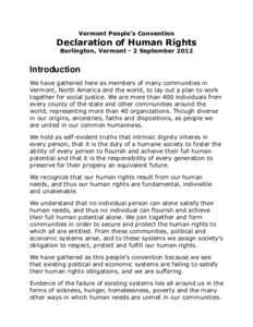 Vermont People's Convention  Declaration of Human Rights Burlington, Vermont - 2 SeptemberIntroduction