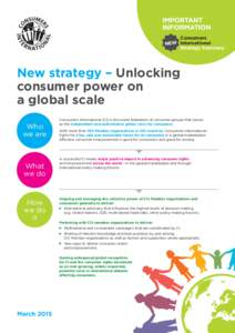 IMPORTANT INFORMATION Consumers NEW International Strategy Summary
