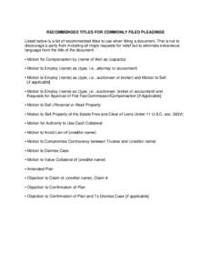 Microsoft Word - Updated RECOMMENDED TITLES FOR COMMONLY FILED PLEADINGS.docx