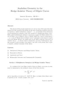 Anabelian Geometry in the Hodge-Arakelov Theory of Elliptic Curves Shinichi Mochizuki (望月 新一) RIMS, Kyoto University (京都大学数理解析研究所)  Abstract: