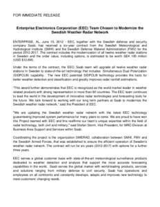 Microsoft Word - SWERAD Press Release - Enterprise Electronics Corporation June 2012.docx
