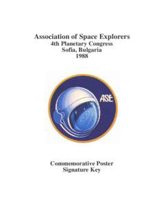 Association of Space Explorers 4th Planetary Congress Sofia, BulgariaCommemorative Poster
