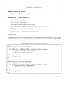 Ae214a Office Hour Handout 3  Good things to know • Templates takes practice and patience  Suggested Coding Practice