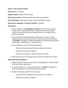 Spring – Paul Laurence Dunbar Grade Level: 9-12 grades Subject/Content: English/Poetry Analysis Summary of Lesson: Students explicate poems with a spring theme Focus Questions: What does the season