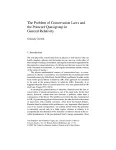 The Problem of Conservation Laws and the Poincaré Quasigroup in General Relativity Gennady Gorelik  1. Introduction