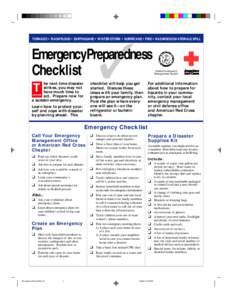 TORNADO • FLASH FLOOD • EARTHQUAKE • WINTER STORM • HURRICANE • FIRE • HAZARDOUS MATERIALS SPILL  ✓ EmergencyPreparedness Checklist