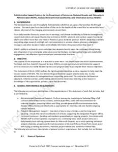 STATEMENT OF WORK FOR TASK ORDER 001 Administrative Support Services for the Department of Commerce, National Oceanic and Atmospheric Administration (NOAA), National Environmental Satellite Data and Information Service (