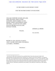 Case: 3:15-cvbbc Document #: 166 Filed: Page 1 of 159  IN THE UNITED STATES DISTRICT COURT FOR THE WESTERN DISTRICT OF WISCONSIN ----------------------------------------------------------------WILLIAM WHI