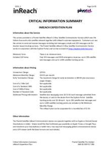 Page 1 of 2  2016_1 CRITICAL INFORMATION SUMMARY INREACH EXPEDITION PLAN