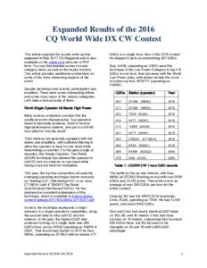 Expanded Results of the 2016 CQ World Wide DX CW Contest This article expands the results write-up that appeared in May 2017 CQ Magazine and is also available on the cqww.com web site in PDF form. You can find detailed s
