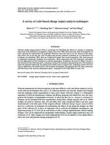 SOFTWARE TESTING, VERIFICATION AND RELIABILITY Softw. Test. Verif. ReliabPublished online in Wiley Online Library (wileyonlinelibrary.com). DOI: stvr.1475 A survey of code-based change impact analysis te