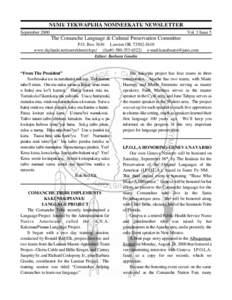 NU - MU - TEKWAPU - HA NOMNEEKATU - NEWSLETTER September 2000