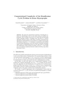 Computational Complexity of the Hamiltonian Cycle Problem in Dense Hypergraphs Marek Karpi´ nski1, , Andrzej Ruci´ nski2, , and Edyta Szyma´ nska2,