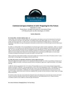 Commercial Space Stations in LEO: Preparing for the Future September 22, 2015 Choate Room, Carnegie Endowment for International Peace 1779 Massachusetts Ave NW, Washington, DCSpeaker Biographies