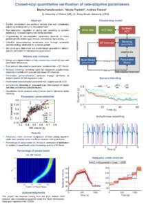 Closed-loop quantitative verification of rate-adaptive pacemakers Marta Kwiatkowska1, Nicola Paoletti2, Andrea Patanè1 1) University of Oxford (UK); 2) Stony Brook University (USA) Closed-loop model