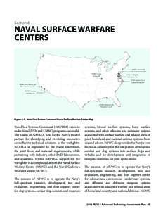 Section 6  NAVAL SURFACE WARFARE CENTERS  Figure 6-1. Naval Sea System Command Naval Surface Warfare Center Map
