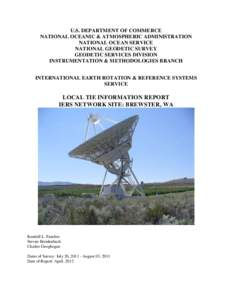 U.S. DEPARTMENT OF COMMERCE NATIONAL OCEANIC & ATMOSPHERIC ADMINISTRATION NATIONAL OCEAN SERVICE NATIONAL GEODETIC SURVEY GEODETIC SERVICES DIVISION INSTRUMENTATION & METHODOLOGIES BRANCH