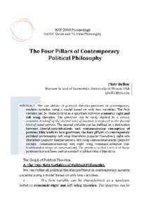 WCP 2008 Proceedings Vol.50 Social and Political Philosophy The Four Pillars of Contemporary Political Philosophy