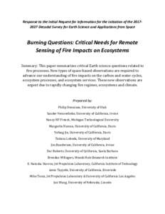 Response to the Initial Request for Information for the initiation of theDecadal Survey for Earth Science and Applications from Space  Burning Questions: Critical Needs for Remote Sensing of Fire Impacts on Eco