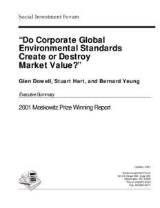 """Social Investment Forum  """"Do Corporate Global Environmental Standards Create or Destroy Market Value?"""""""