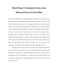 Black Phones: the Holocaust Poetry of