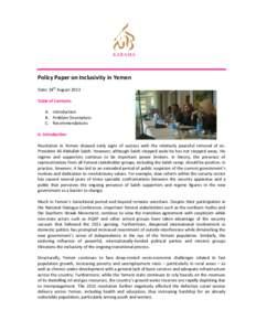 Policy Paper on Inclusivity in Yemen
