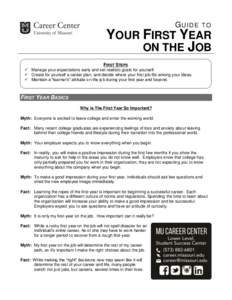 GUIDE  TO YOUR FIRST YEAR ON THE JOB
