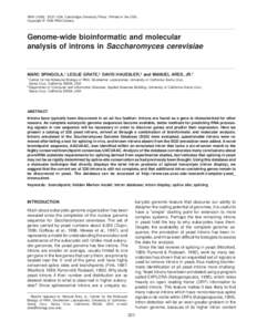 RNA (1999), 5:221–234+ Cambridge University Press+ Printed in the USA+ Copyright © 1999 RNA Society+ Genome-wide bioinformatic and molecular analysis of introns in Saccharomyces cerevisiae