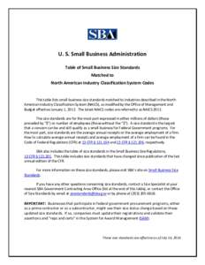 U. S. Small Business Administration Table of Small Business Size Standards Matched to North American Industry Classification System Codes This table lists small business size standards matched to industries described in