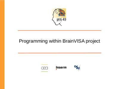 Programming within BrainVISA project  What is the BrainVISA project ? Complete development environement RedMine based forge Integration of various programming languages