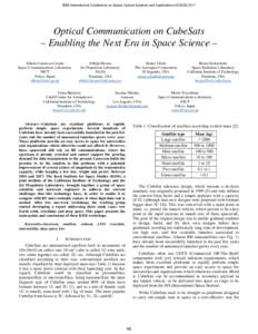 Optical Communication on CubeSats - Enabling the Next Era in Space Science