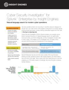 Cyber Security Investigator for Splunk Enterprise by Insight Engines ™ ™