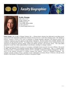 Kathy Knapp MBA, CPA, CVA Knapp Valuation, Inc 680 Portage Court Vernon Hills, IllinoisP: (