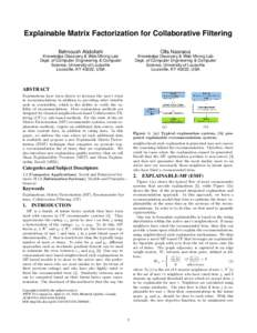 Explainable Matrix Factorization for Collaborative Filtering Behnoush Abdollahi Olfa Nasraoui  Knowledge Discovery & Web Mining Lab