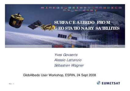 SURFACE ALBEDO FROM GEOSTATIONARY SATELLITES Yves Govaerts Alessio Lattanzio Sébastien Wagner