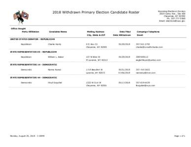 2018 Withdrawn Primary Election Candidate Roster  Wyoming Elections Division 2020 Carey Ave., Ste 600 Cheyenne, WYPh