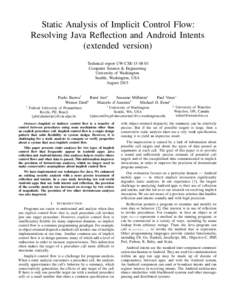 Static Analysis of Implicit Control Flow: Resolving Java Reflection and Android Intents (extended version) Technical report UW-CSEComputer Science & Engineering University of Washington