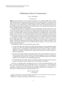 Reprinted with corrections from The Bell System Technical Journal, Vol. 27, pp. 379–423, 623–656, July, October, 1948. A Mathematical Theory of Communication By C. E. SHANNON