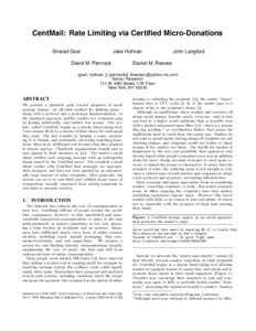 CentMail: Rate Limiting via Certified Micro-Donations Sharad Goel Jake Hofman  David M. Pennock