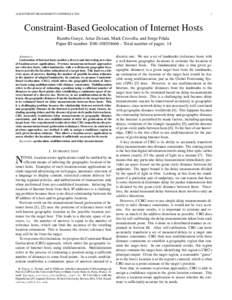 ACM INTERNET MEASUREMENT CONFERENCEConstraint-Based Geolocation of Internet Hosts Bamba Gueye, Artur Ziviani, Mark Crovella, and Serge Fdida