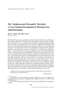 """The """"Antidemocratic Personality"""" Revisited: A Cross-National Investigation of Working-Class Authoritarianism"""