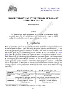 Proc. Int. Cong. of Math. – 2018 Rio de Janeiro, Vol–854) HODGE THEORY AND CYCLE THEORY OF LOCALLY SYMMETRIC SPACES Nicolas Bergeron