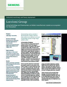 Industrial machinery and heavy equipment  Loccioni Group Using Solid Edge and Teamcenter, an Italian manufacturer creates an ecosystem for innovation