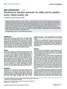 Psychomotor function measured via online activity predicts motor vehicle fatality risk