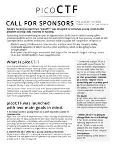PICOC T F CALL FOR SPONSORS THE LARGEST HACKING COMPETITION IN THE WORLD